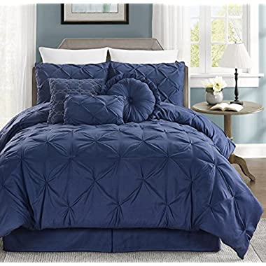Chezmoi Collection Sydney 7-piece Pintuck Bedding Comforter Set (Queen, Navy)