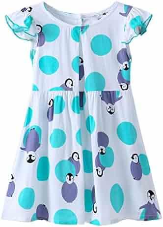 68f4c7dcc9f Loveble Toddler Girls Penguin Printed Princess Dot Dress Summer Dress