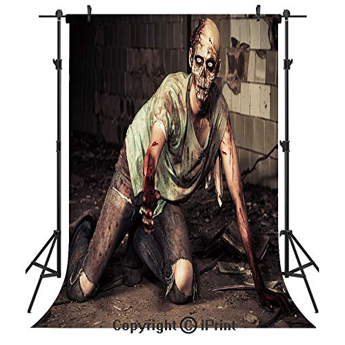 Zombie Decor Photography Backdrops,Halloween Scary Dead Man in Old Building with Bloody Head Nightmare Theme,Birthday Party Seamless Photo Studio Booth Background Banner 5x7ft,Grey Mint Peach]()