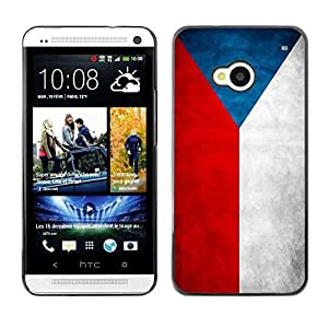 PC/Aluminum Funda Carcasa protectora para HTC One M7 National Flag Nation Country Czech Republic / JUSTGO PHONE PROTECTOR
