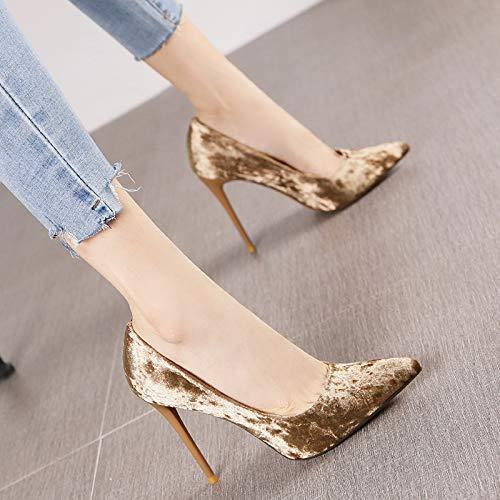HRCxue Pumps Spitze Diamant Samt Samt Samt flachen Stiletto Super High Heels Mode Persönlichkeit Champagner einzelne Schuhe weiblich, 39, Champagner 366603