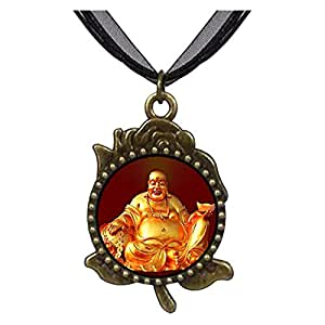 Chicforest Bronze Retro Style Religion Huge Buddha Figure Rose Flower Pendant Pendant Necklaces