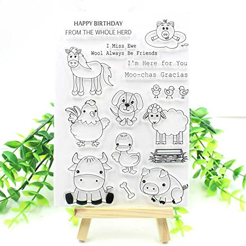 MaGuo Happy Birthday Stamps for Card Making Cupcakes Bear Clear Stamps DIY Scrapbooking