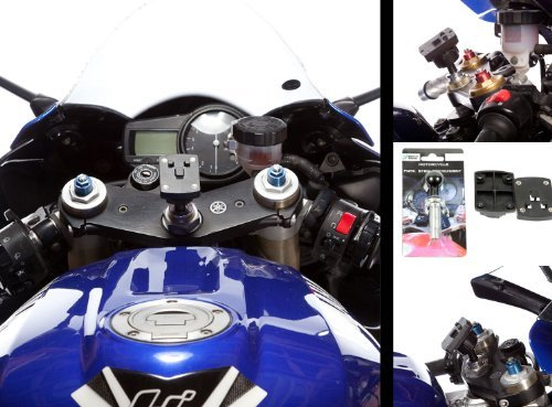 Motorcycle 13-15mm Centre Fork Stem Mount Attachment with AMPS Plate & Ultimate Addons 3 Prong Adapter by Ultimate Addons