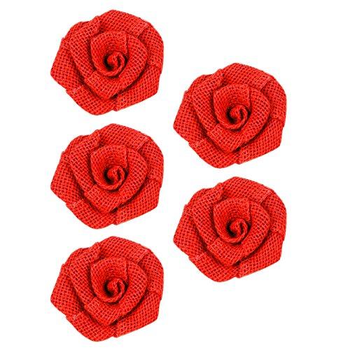 Mochiglory 5 Pcs Vintage Linen Burlap Rose Wedding Christmas Flower Home (Vintage Linen Burlap Roses)