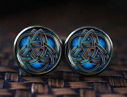 Blue triquetra cufflinks, Celtic triangle cufflinks, Celtic knot cufflinks, Celtic cufflinks, Trinity Knot art cufflinks