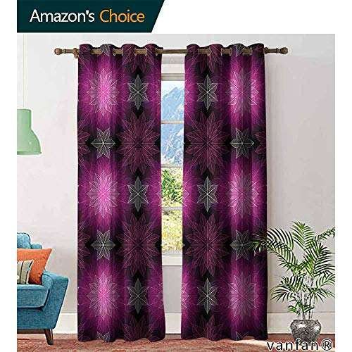 - Big datastore Fractal Curtain Set for bathroomRadiant Fragmented Floral Flower Petals Pattern with Translucent Lotus Artwork Nature Decor W72 x L96 Plum Violet
