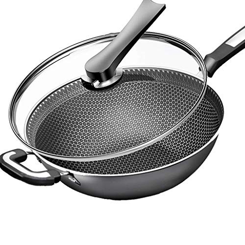 Non-Stick Wok 304 Stainless Steel Household Multifunctional Cooking Pot for Induction Cooker Gas,Pot Diameter ()