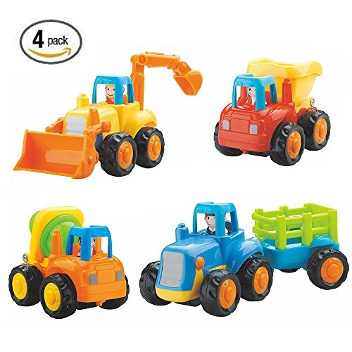 Friction Powered Cars Push and Go Car Construction Vehicles Toys Set of 4 Tractor,Bulldozer,Cement Mixer Truck,Dumper For Toddler Baby Toy 1 2 3 Years Old Kids by Ageoflove