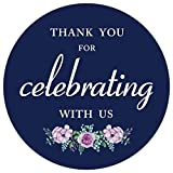 """80 Pack- 2"""" Navy Blue Floral Thank You for Celebrating with us Label Stickers, Thank You Sticker Labels"""