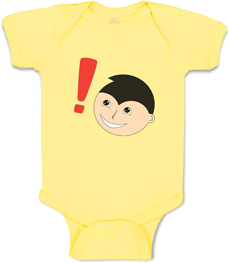Custom Boy & Girl Baby Bodysuit Guy Head Exclamation Mark Cartoon Funny Cotton