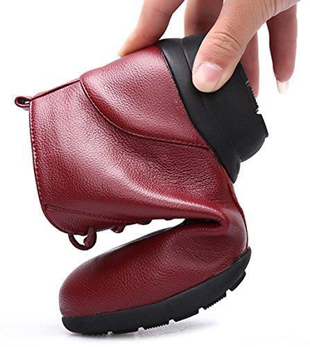 Abby 1807 Womens Jazz Split Sole Closed Toe Mid Top Low Heel Rumba Modern Lace Up PU Ankle Boot Dance Shoes Red M US 8 gfzoV