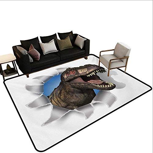 Paper Table Cover Caprice (Indoor Floor mat,A Tyrannosaurus Rex Pokes Head Through Paper Wall Dinosaurs Extinct Large 6'6