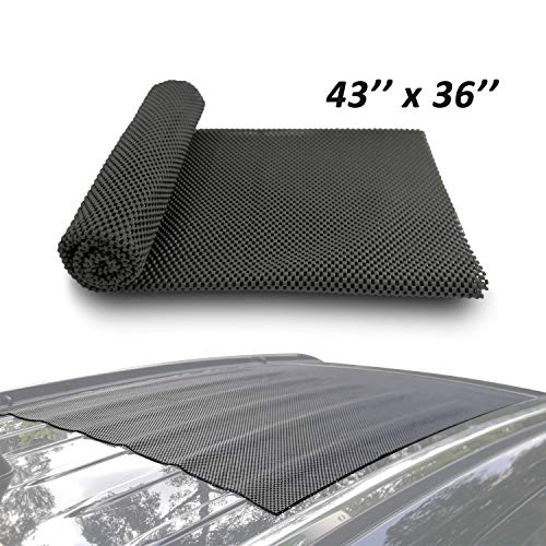 Car Roof Mat Cargo Pad Protective Mat Rack Pad (43''x36'') Cushioned Layer Non-slip Heavy Duty Elastic Soft for Car SUV Truck Carrying Cargo Bags Bikes Paddle by Depp's - Pads Bar Roof