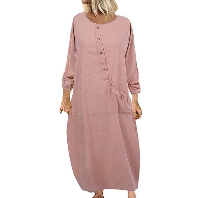 Vestidos Largos Sueltos de Color Liso para Mujer Vestido Largo con ...