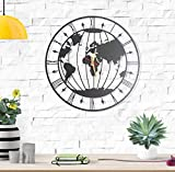 Metal World Map, Wall Clock, Wall Decor, Home Decoration, Steel, Modern Wall Decor, New Home Gift, Housewarming Gift, Wedding Gift, Modern Wall Art, 19.5x19.5 inches (World Map Wall Clock)