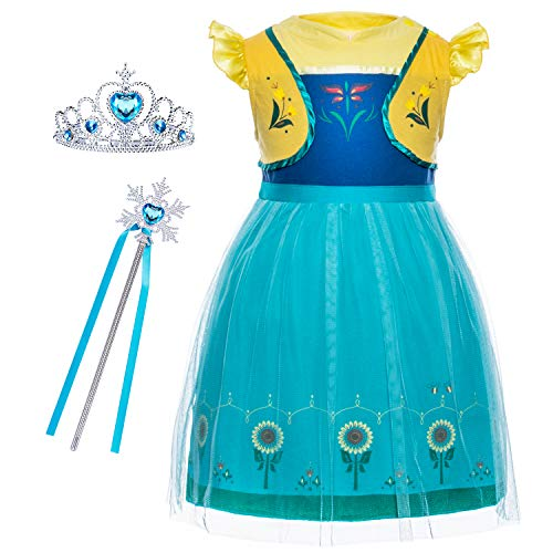 Cmiko Princess Anna Costume Dresses Clothes Skirts for Toddler Little Girls Dress Up Cosplay Birthday Party with Tiara and Magic Wand Accessories Size 5t 6t L(6) 5-6 Years (Green)