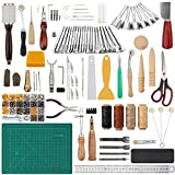 104 Pieces Leathercraft Tools Kit, Dorhui Leather Working Tools and Supplies, Leather Craft Stamping Tools, Rivets Tools, Stitching Groover, Prong Punch, Leather Working Saddle Making Tools