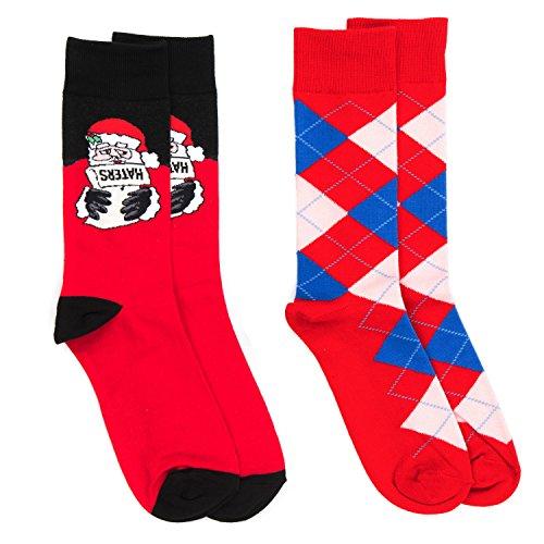 2 Pairs Christmas Socks Fine Fit Holiday Novelty Boxed Set - Choose Prints (Santa & Red Argyle) (Print Holiday Socks)