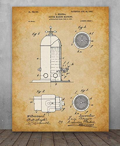 Poster - Espresso Machine Patent - Choose Unframed Poster or Canvas - Makes a Great Gift for Baristas and Coffee Shop Decor ()