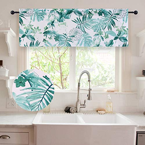 HOLKING Leaf Pattern Valances for Kitchen-52 Inch Wide by 18 Inch Long Valance,One Panel,Green]()