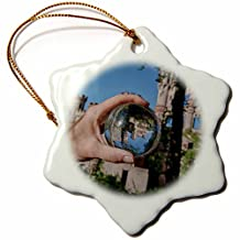 Roni Chastain Photography - Castle in crystal Ball - Ornaments - 3 inch Snowflake Porcelain Ornament (orn_173580_1)