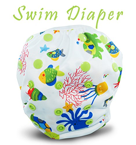 Reusable Swim Diapers - Adjustable for Babies & Toddlers 0-3 Years Old - By Busybabee (Sea Life)