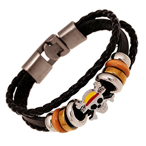 - straw hat pirates Luffy bracelet leather retro leather bracelet with male and female couple gift hand punk