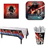 Star Wars VII The Force Awakens Party Supply Pack for 16 People - 16 Dinner Plates, 16 Luncheon Napkins, 16 Cups 1 Tablecloth