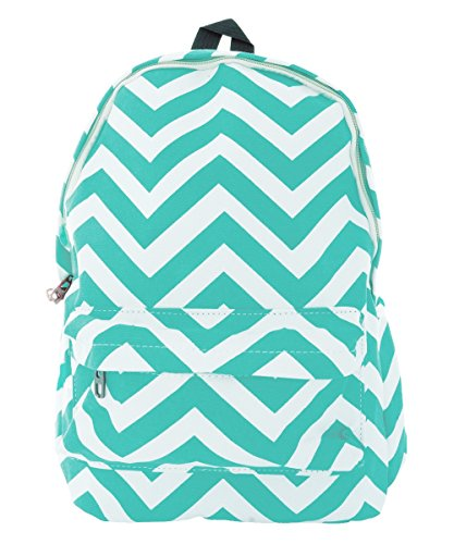 Pop Fashion Women's Canvas Backpack with Chevron Print and Zip Compartment (Teal)