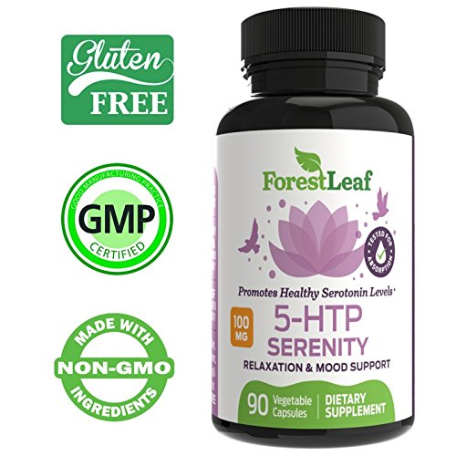 100mg 5-HTP Serenity Daily Serotonin Supplement - Helps Boost and Improve Mood, Relaxation and Brain Function - Helps Regulate Sleep and Appetite - by ForesLeaf, 90 capsules