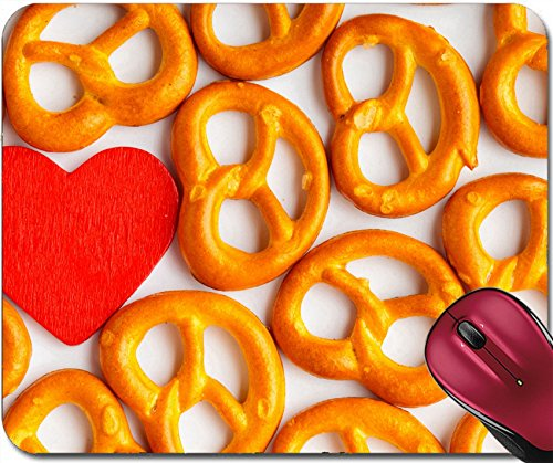 (Liili Mousepad ID: 25183980 Valentine s Day or Food Salted Fresh Pretzels Pattern and red Heart on White)