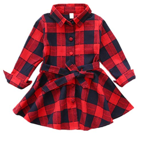 Kids Girls Plaid Long Sleeve Casual Party Dress Turn Down Collar Shirt Dress Swing Dress (5-6 Years, Red) -