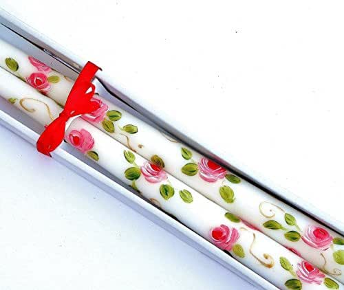Romantic Hand Painted Pink Rose Taper Candles in a Gift Box Victorian Shabby Chic Home Decor Accents
