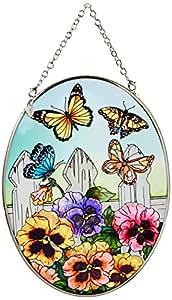 Amia 5858medio ovalada cairel con diseño de flores y mariposas, pintado a mano de cristal, 5–1/2-inch W por 7pulgadas L