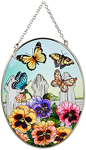 Amia 5858 Medium Oval Suncatcher with Pansy and Butterfly Design, Hand-painted Glass, 5-1/2-Inch W by 7-Inch L ()