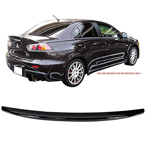 - Pre-painted Trunk Spoiler Fits 2008-2017 Mitsubishi Lancer | D Style ABS Glossy Black Trunk Boot Lip Wing Deck Lid Other Color Available By IKON MOTORSPORTS | 2009 2010 2011 2012