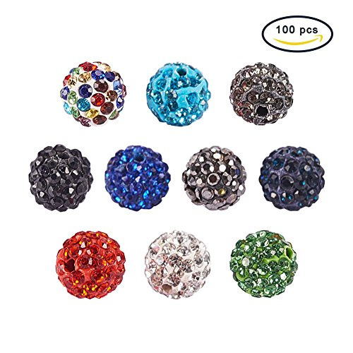 PH PandaHall 10mm 100Pcs Disco Ball Clay Beads Mixed Colors Pave Glass Rhinestones Spacer Round Beads fit Bracelet and Necklace Crystal Shamballa String Bracelet