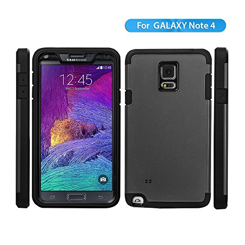 Samsung Galaxy Note 4 Case, Aceguarder Brand [New Hot] [Style Armor] Samsung Galaxy Note 4 Case Rugged Splash Resistant, Shockproof, Dirt-proof , Super Dual Layer Protective Armor Case for Galaxy Note 4 Case (Silver)