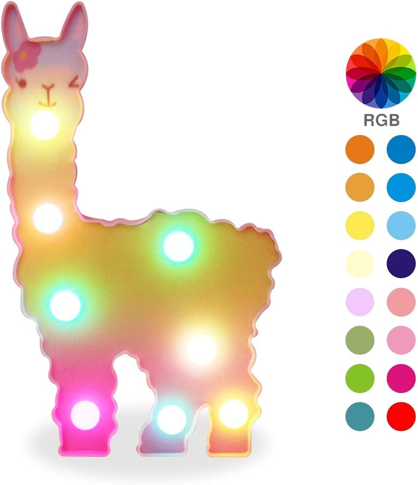 Pooqla Colorful Llama Night Light – Color Changeable Light Up Marquee Llama Signs – LED Rainbow Themed Lamp Fantasy Wall Decor – Toys for Girls Living Room,Bedroom,Home (Llama – 7 Colors)