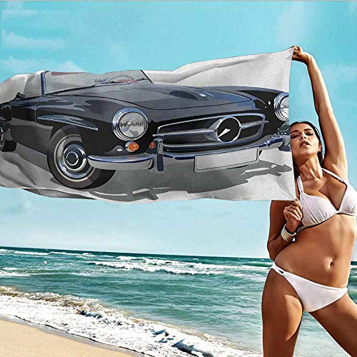 Antonia Reed Beach Bath Towel Cars,Classical Retro Vehicle Antique Convertible Prestige Old Fashion Revival,Black Pale Grey White,Suitable for Home,Travel,Swimming Use 20