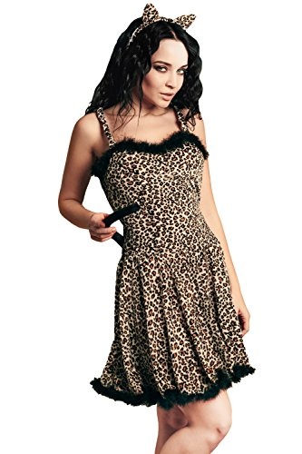 Adult Women Leopard Girl Costume Feline Lady Cosplay Role Play Wildcat Dress Up (Small/Medium, Beige, Brown, (Cute Halloween Cat Pics)