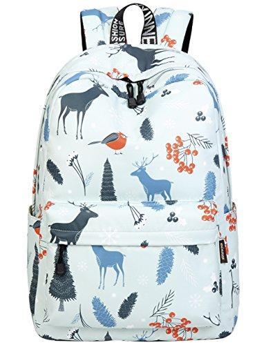 School Bookbags for Girls, Cute Deers Backpack College Bags Women Daypack Travel Bag by Mygreen (Light Cyan)