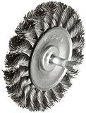Weiler Standard Wire Wheel Brush, Round Shank, Steel, Partial Twist Knotted, 3-1/4'' Diameter, 0.014'' Wire Diameter, 1/4'' Shank, 5/8'' Bristle Length, 3/8'' Brush Face Width, 25000 rpm