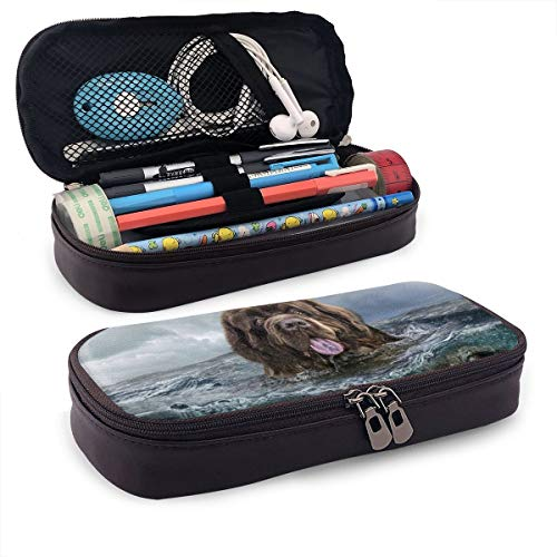 (Pencil Case Pouch Newfoundland Underwater Dogs Funny Animals Large Capacity Pen Bag Makeup Pouch Durable Students Stationery Pockets with Double Zipper)