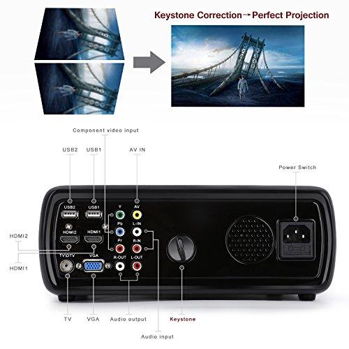 LESHP Mini Proyector LED 1080p HD HDMI / VGA / USB / AV / TV Home Cinema (3200 Lumens, Negro)