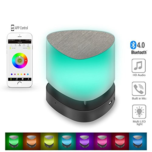 Bluetooth Speakers,SyndeRay Mini Portable Wireless Stereo With App Colorful LED Light Subwoofer HIFI Speaker Compatibility for iPhone,Samsung,Sony,LG,HTC