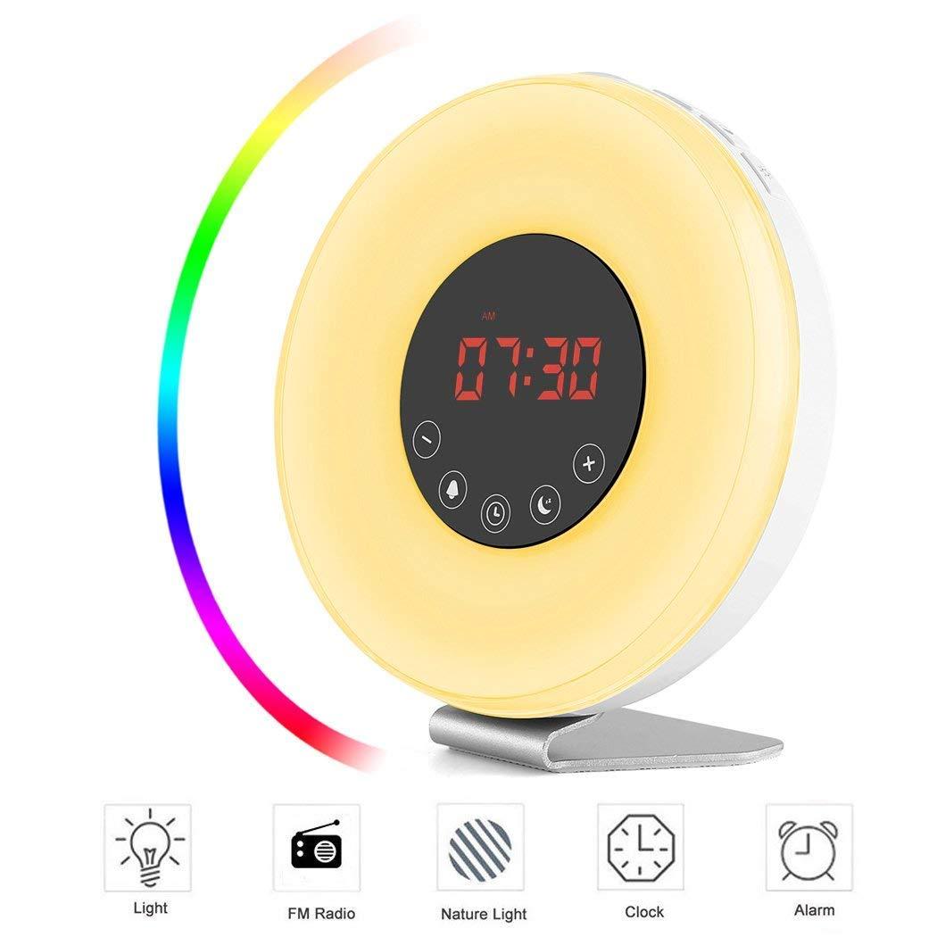 Lichtwecker, Wake Up Light LED Wecker Sonnenaufgang Sonnenuntergang Simulation, Nachtlicht mit UKW-Radio 7 Farben Licht, 6 natürlichen Wecktöne Touch Control und USB Ladegerät, Geschenke für Kinder oder erwachsene (Neuve Version) SIEGES
