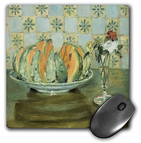3dRose BLN Food and Dining Fine Art Collection - Nature morte au melon et au vase de fleurs by Pierre-Auguste Renoir, 1883 - MousePad -