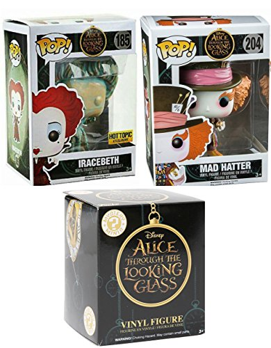 Funko Alice in Wonderland Figures Pop! Through the Looking Glass Movie Vinyl Set Exclusive Iracebeth & Mad Hatter + Blind Box Mystery - In Men Black 3 J Agent